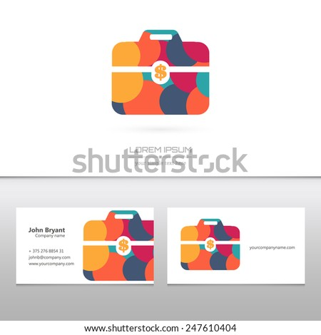 Abstract Creative concept vector image logo of briefcase for web and mobile applications isolated on background, art illustration template design, business infographic and social media, icon, symbol. - stock vector