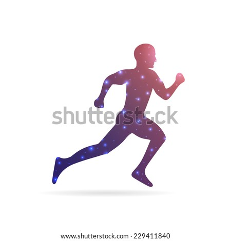 Abstract Creative concept vector image of running man for Web and Mobile Applications isolated on background, art illustration template design, business infographic and social media, icon, symbol. - stock vector