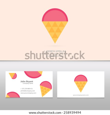 Abstract Creative concept vector logo of ice cream for web and mobile applications isolated on background - stock vector