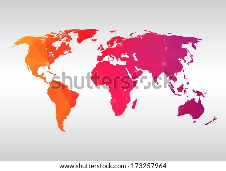 Abstract creative concept vector map of the world for Web and Mobile Applications isolated on background. Vector illustration, creative template design, Business software and social media. - stock vector