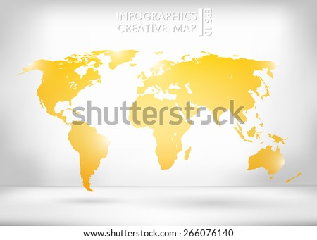 Abstract creative concept vector map of the world for Web and Mobile Applications isolated on background. Art illustration, creative template design, Business software and social media, origami. - stock vector