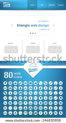 Abstract Creative concept vector one page website template isolated on background. Includes illustration interface, flat UI kit for web and UX mobile design, business infographic and social multimedia - stock vector