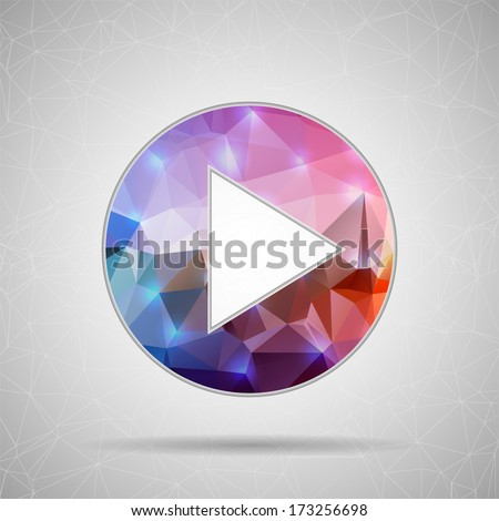 Abstract Creative concept vector play icon for Web and Mobile Applications isolated on background. Vector illustration template design, Business infographic and social media, origami icons. - stock vector
