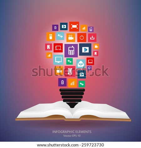Abstract creative concept vector silhouette bulb of icons cloud. For web and mobile app isolated on background, art illustration template design, digital business infographic and social media idea. - stock vector