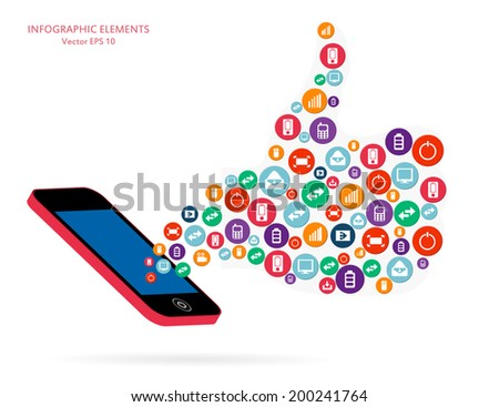 Abstract creative concept vector siluet hands of icons. For web and mobile applications isolated on background, illustration template design, Business infographic and social media. - stock vector
