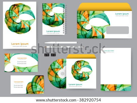 Abstract creative corporate identity template with abstract lines and waves