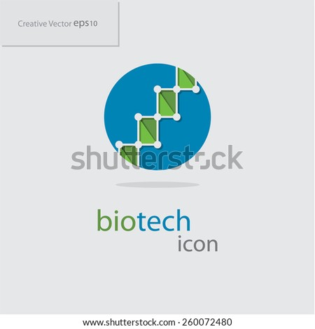 Abstract creative flat biotechnology or biotech icon, eps10 Vector - stock vector