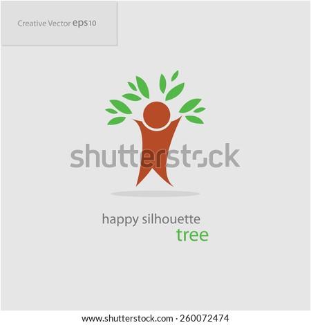 Abstract creative happy silhouette tree icon, eps10 Vector - stock vector