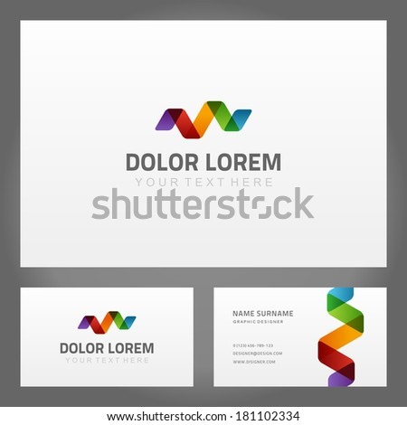 Abstract creative icon and  business card. Vector design element.  - stock vector