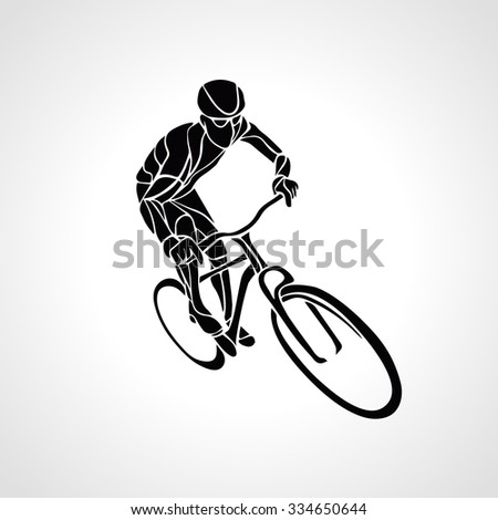 Abstract creative silhouette of bicyclist. Black cyclist wave style logo. Vector illustration of bike - stock vector