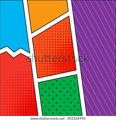 Abstract creative vector comics pop art style blank layout template with clouds beams and isolated dots pattern on background. For your next design. - stock vector