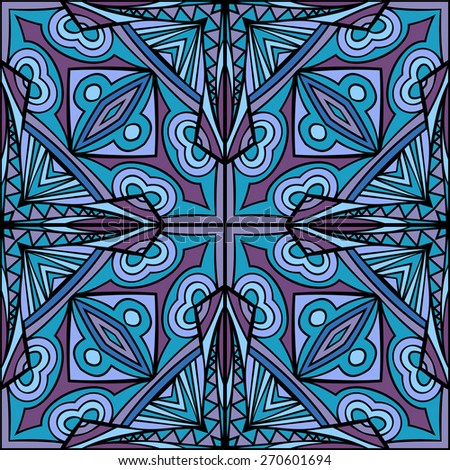 Abstract cross ethnic repeatable ornament. Seamless tribal geometric pattern. Symmetric background. Stained glass style. Stylized Indian square motif. Vector file is EPS8. - stock vector