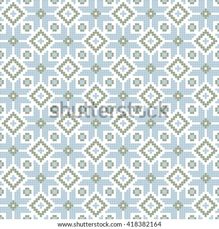 Abstract cross stich style traditional blue seamless pattern - stock vector