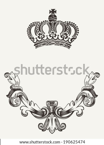 Abstract crown emblem with shield. - stock vector
