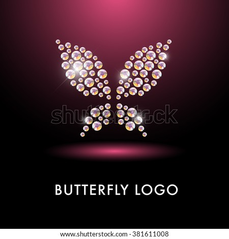 Abstract crystal logo with butterfly character. Simple fly insect icon made with rhinestone gems. Business sign. Good for floral store, cloth shop, children toys store, artistic gallery, print design. - stock vector