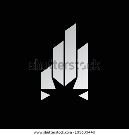 Abstract crystal sign. Futuristic star with glossy sparks symbol. Peak arrows and rays. Branding Identity Corporate vector unusual  logo design template Isolated on a black background - stock vector