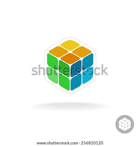 Abstract cube box logo. Digital colorful particles sign. - stock vector