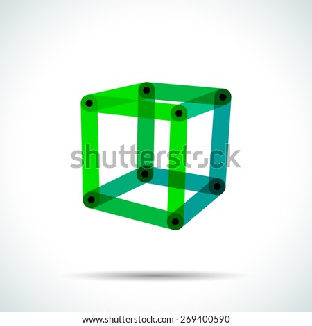 Abstract cube logo with intersecting transparent lines and dots. - stock vector