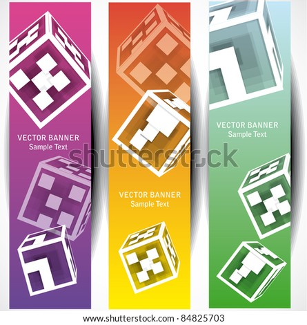abstract cube web banners - stock vector
