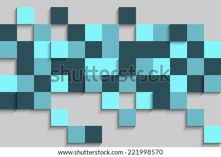 abstract cubes background in blue tone - stock vector