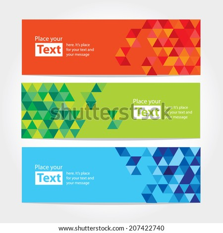 Abstract cubic banners with cubical design elements. Modern flat vector illustration. Banner background set - stock vector