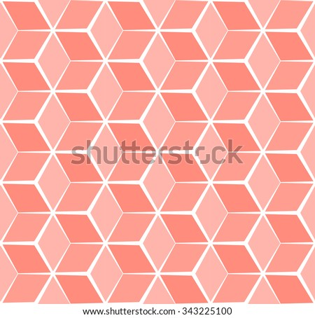 Abstract cubic orange pastel background, seamless pattern - stock vector