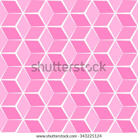 Abstract cubic pink pastel background, seamless pattern - stock vector