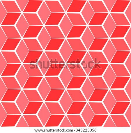 Abstract cubic red background, seamless pattern - stock vector