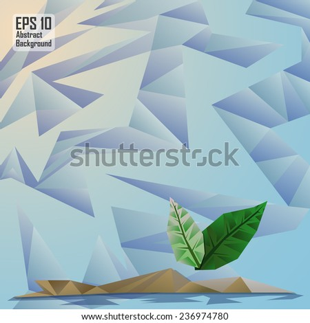 abstract cubism background with leaf on island - stock vector