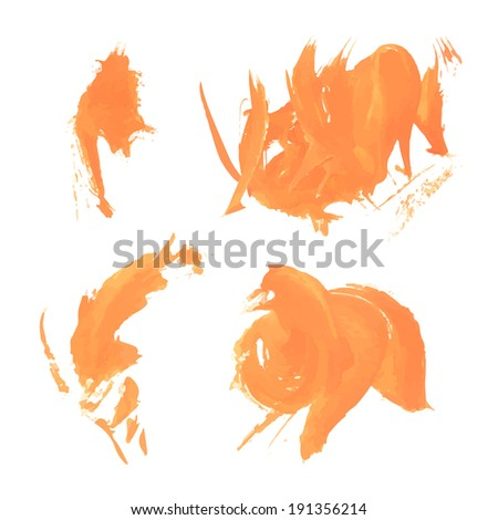 Abstract curly orange paint strokes 3