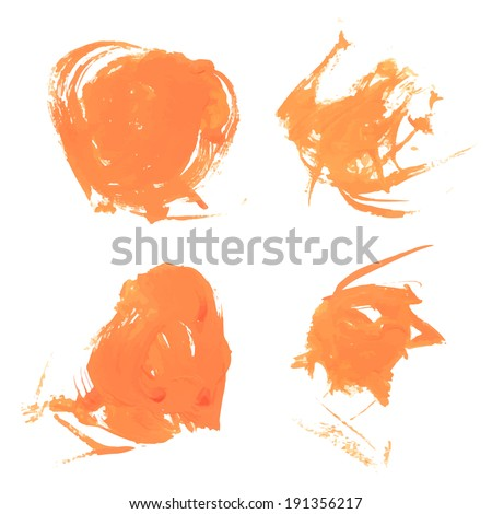 Abstract curly orange paint strokes
