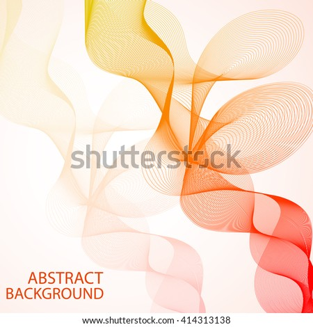 Abstract curved lines on bright background - stock vector