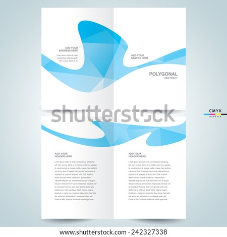 abstract curves polygons brochure design template booklet - stock vector