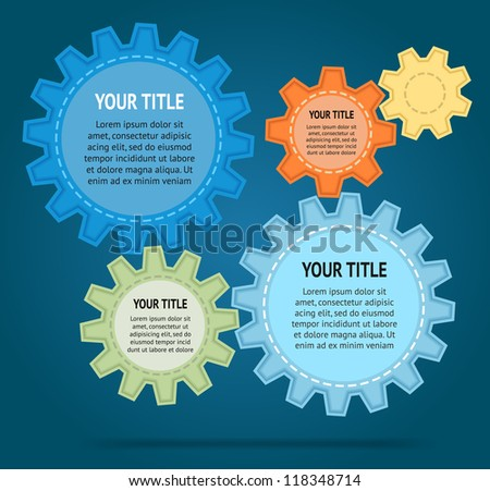 Abstract cut color gear wheels on blue background. Vector design template - stock vector