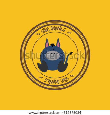 Abstract cute animal on a round label - stock vector