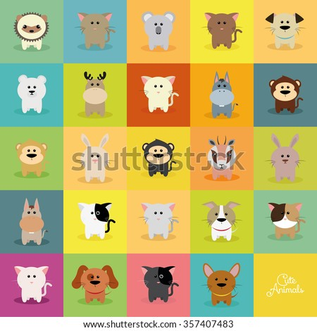Abstract cute animals on a special background