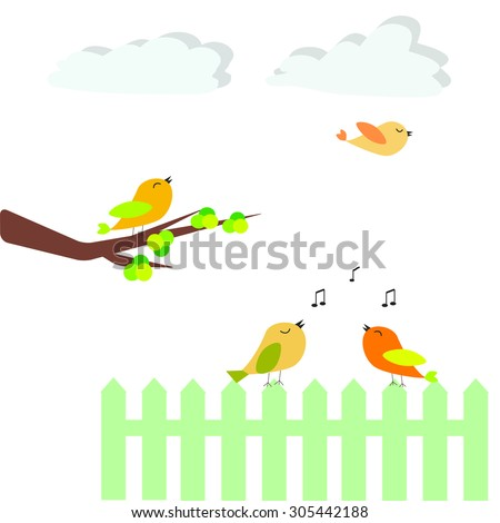 Abstract cute birds with fence, white background - stock vector