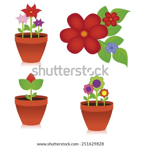 abstract cute flowers on a white background