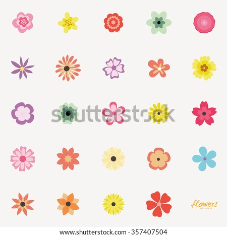 Abstract Cute flowers on a white background - stock vector