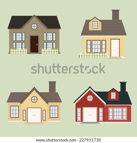 abstract cute houses on a light green background - stock vector