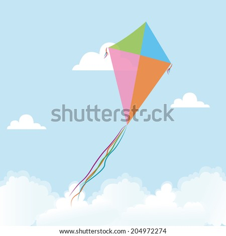 abstract cute kite on a special background