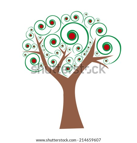 abstract cute tree on a white background