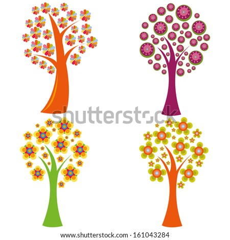 abstract cute trees with special leaf on white background