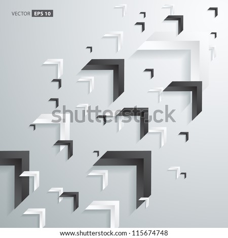 Abstract 3D Arrow Technology Background Design - stock vector