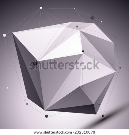 Abstract 3D asymmetric polygonal vector network pattern, grayscale creative deformed figure with undertones placed over contrast background. - stock vector