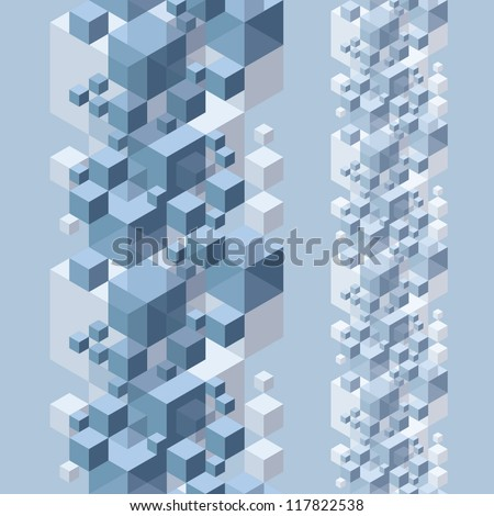 Abstract 3d background with cubes, contain seamless elements, seamless pattern, vector. - stock vector