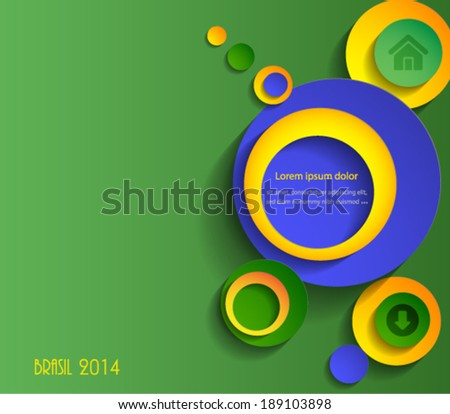 Abstract 3d Brasil colors paper circles homepage design. Vector eps10. - stock vector