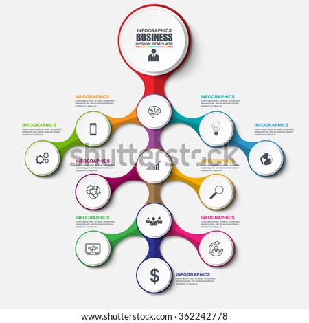 Abstract 3D business marketing Infographic. Can be used for workflow layout, data visualization, business concept with 12 options, parts, steps or processes, banner, cycle diagram, chart, web design. - stock vector