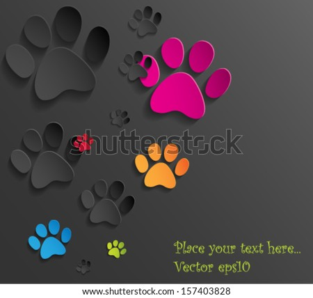 Abstract 3d cat paws background. Vector eps10. - stock vector
