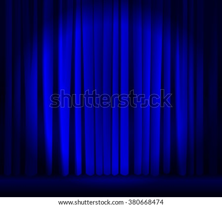Abstract 3d closed blue silk curtain with spotlit light in the center. Empty concert, theater, opera, comedy show and cinema stage backdrop - drapes texture, front view. vector art image illustration - stock vector